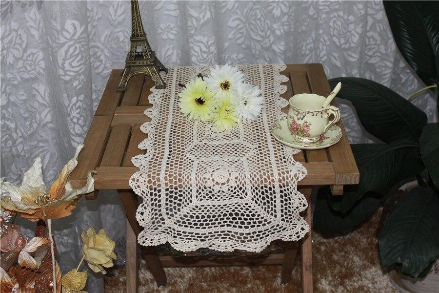Adaptable 34*90 Cm Vintage Wit Katoenen Kant Tafelloper Handgemaakte Gehaakte Bloem Vierkante Kerst Tafelkleed Placemat Voor Bruiloft Decor