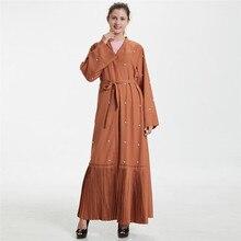 Модные жемчужные Бисер коричневый длинное мусульманское платье Для женщин кардиганы плиссированным подолом Арабский исламский леди Baya Ближний Восток одежда a1142