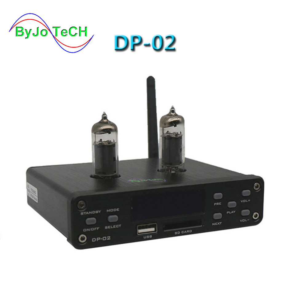 ByJoTeCH DP-02 Bluetooth 4.0 HiFi 6k4 Tube Amplifier Portable preamplifier Headphone Amplifier audio board U disk SD card input fx audio m 200e mini hifi audio high fidelity amplifier support u disk sd card lossless bluetooth 4 0 120w 2 220v