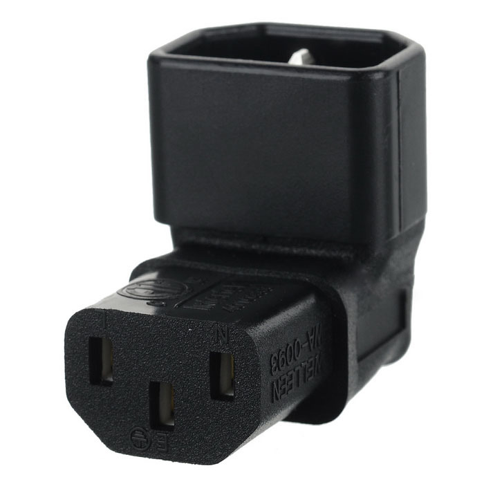 IEC Male C14 to Up Direction Right Angled 90 Degree IEC Female C13 Power Extension Adapter 5pcies/lot