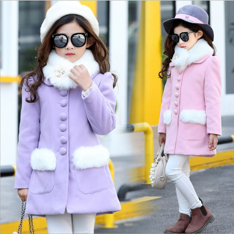 Children Coat For Girl 2018 Winter New Style Fashion Fur Collar Long High Quality Warm Jacket 2016 high quality casual coat for boys mandarin collar polyester juegos infantiles for children nttz 206