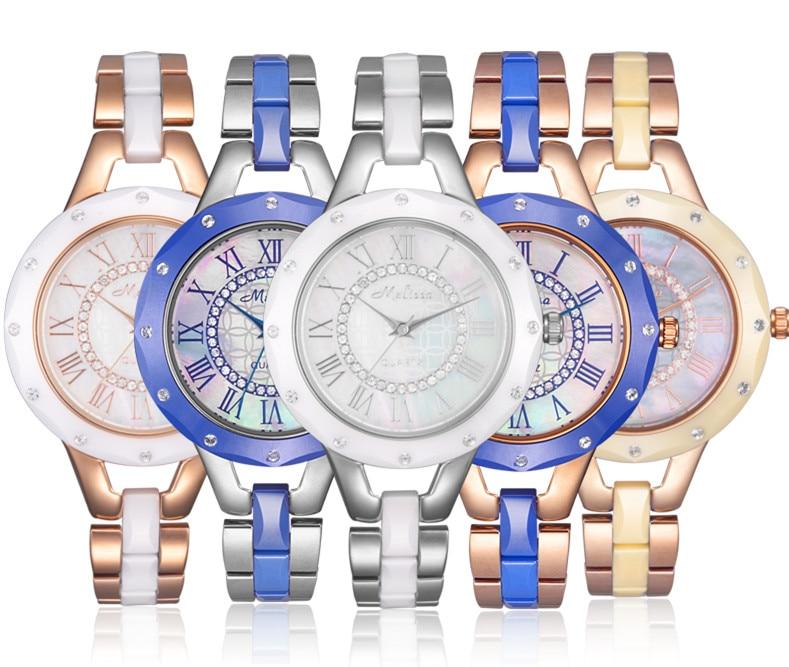 купить New Arrived MELISSA Women Bracelet Watches 100% Real High-tech Ceramic Wrist watch Vintage Roman Relogio 3ATM Montre Femme F8144 по цене 5241.93 рублей