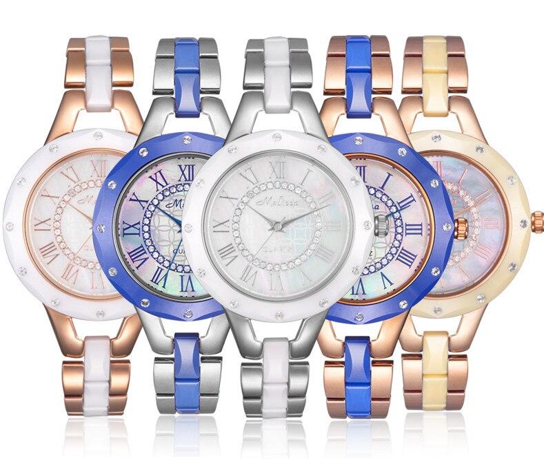 Relógio de Pulso do Vintage Recente Chegou Melissa Feminino Pulseira Relógios 100% Real High-tech Cerâmica Roman Relógio 3atm Montre Femme F8144