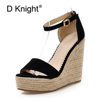 Fashion Women Summer Gladiator Sandals Cozy Wedges Platform High Heels Open Toe Straw Buckle Strap Ladies Leather Shoes Green