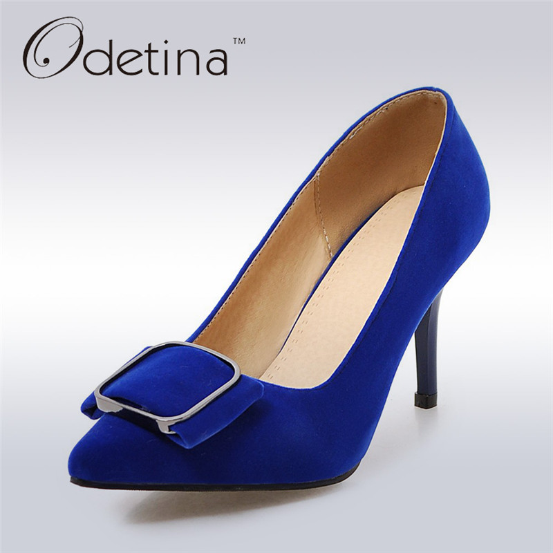 Odetina 2017 Fashion Women Spring Autumn High Heels Dress Pumps Thin Heel Square Buckle Pointed Toe Office Shoes Plus Size 31-43 plus size 34 43 new hot sale thin heel women pumps pointed toe sequin simple fashion high heels ladies dress shoes gold
