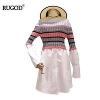 RUGOD Newest Fashion Slash Neck Off The Shoulder Women Dress 2017 Autumn Contrast Striped Patchwork Fit
