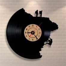Large Decorative Wall Clocks Vinyl Record Clock Climbing Shape 3D Acrylic Art Watch Antique Style Quartz Clock Mechanism Needle