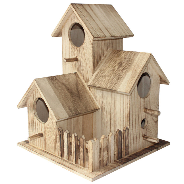 New wooden outdoor  bird house breeding box Wen  Xuanfeng tiger skin peony parrot bird nest wooden house nest cage toy 1