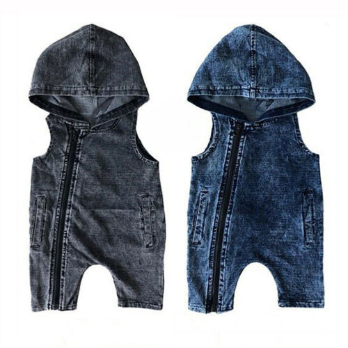 Pudcoco Baby Boy Girl Kids Denim Hooded   Romper   Jumpsuit Clothes Outfits