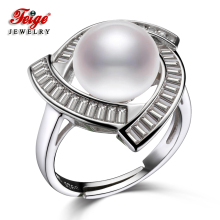 FEIGE High-quality 10-11MM White Natural Freshwater Pearl Ring Real 925 Sterling Silver Rings for Women Wedding Bride Jewelry