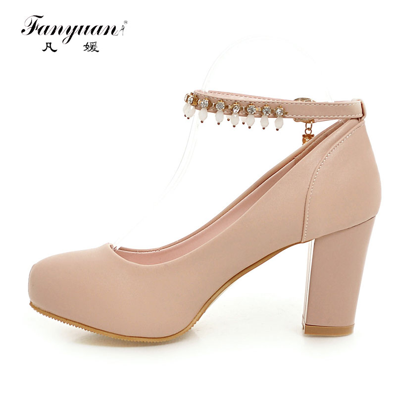 ФОТО Fanyuan Plus Size 43 Casual Pumps Women Thick High Heels Round Toe Rhinestone Office Ladies Ankle Strap Pumps Party Shoes 2017