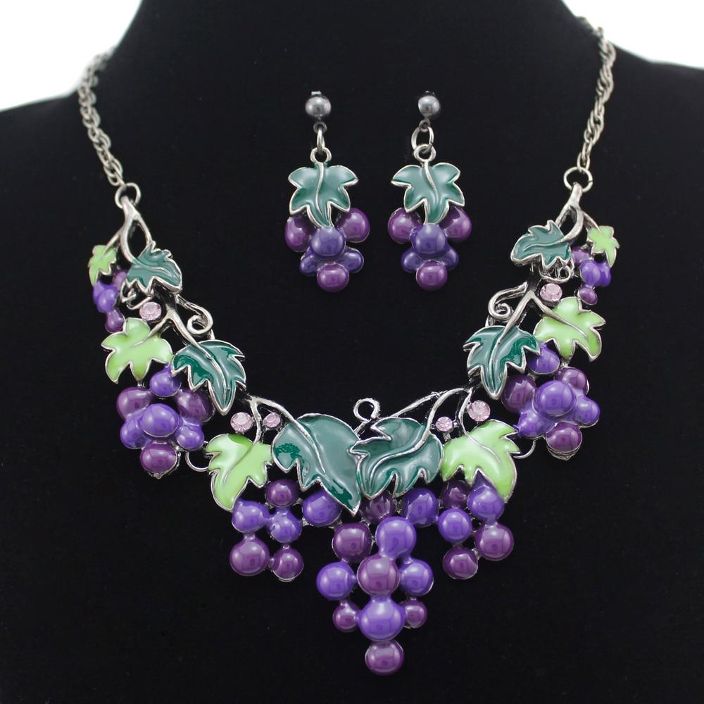 Jubilee Victorian Grape Cluster & Leaf Prom Gun Black Bib Necklace +  Piercing Earrings Set Jewelry