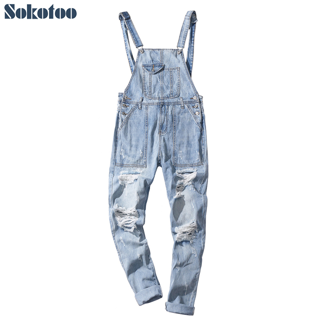 f6a9ee84ab2 Sokotoo Men s plus size light blue ripped denim slim fit bib overalls  Casual holes distressed jumpsuits Jeans pants