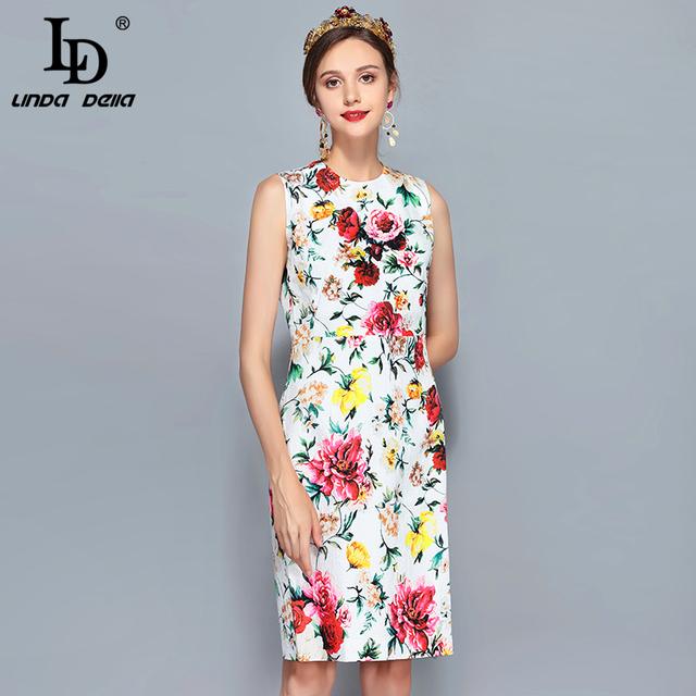 Women's Sleeveless Vintage Rose Floral Print Slim Elegant Dress