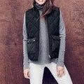 Fashion Lightweight Women cotton Vest warm Soft Ladies Mandarin collar Vest Pocket vest waistcoat rhombic 2017autumn cotton vest