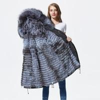Новые чернобурки меховой парка пальто женские трикотажные silver fox меховой подкладке парки Черный зимой толстые Настоящее пальто с мехом теп