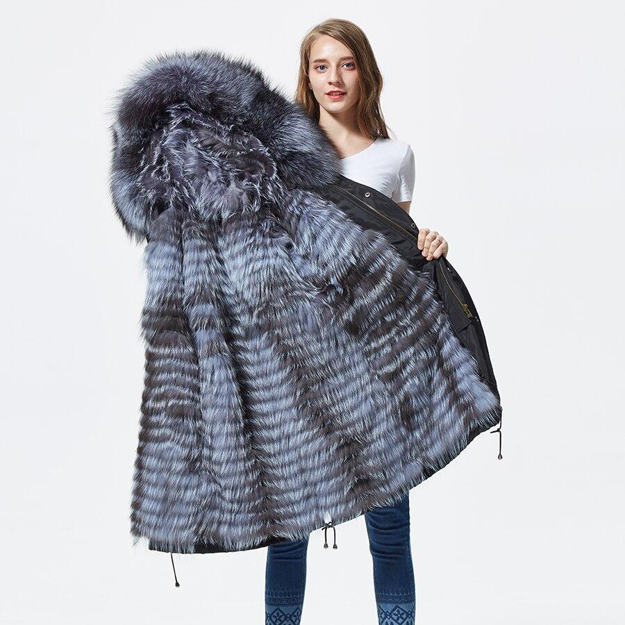 Nuovo argento pelliccia di volpe cappotto parka delle donne d'argento lavorato a maglia pelliccia di volpe foderato parka nero di inverno di spessore reale del cappotto di pelliccia caldo tuta sportiva femminile