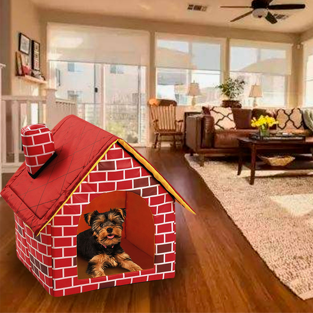 Portable Brick Pet Dog House Nest Removable Warm and Cozy