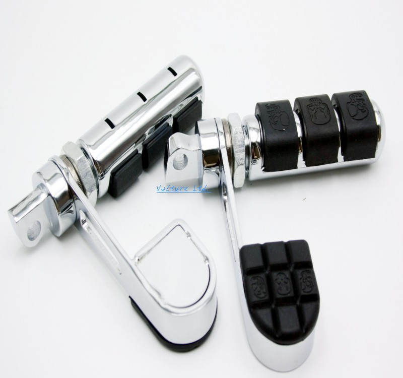 Chrome Skull Anti-Vibe Foot Pegs Male Mount With Heel Rest For Harley Davidson DYNA FXDF FAT BOB FXDC FXDX Sportster XL Softail chrome skull foot pegs for harley davidson softail dyna glide sportster