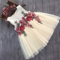 Luxury Lace Flower Girl Dresses Appliques Kids Prom Wedding Dress Ball Gown Pearls Girl Pageant Dress