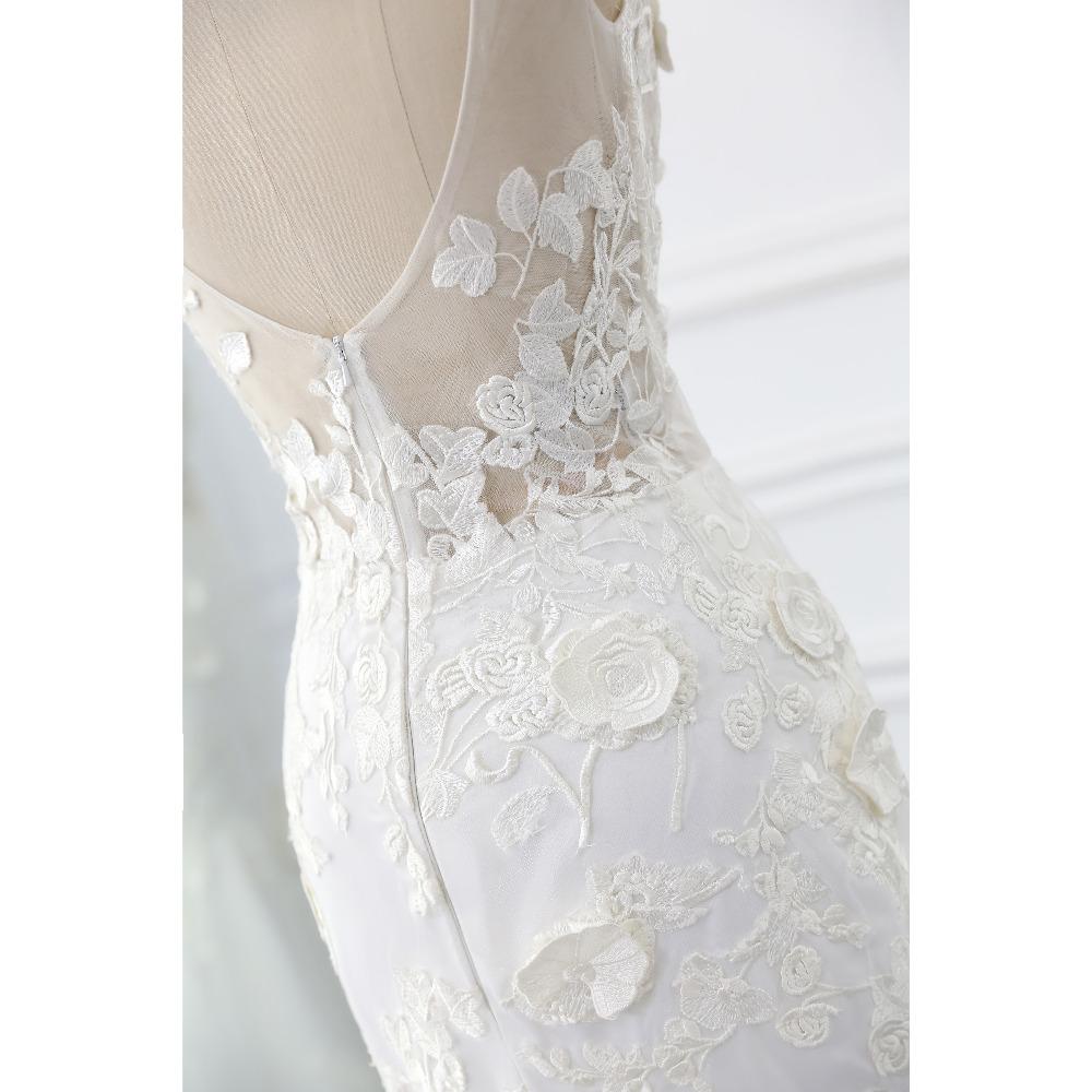 Lover Kiss Wedding Dress 2017 Vintage Mermaid Lace Appliques Bead Robe de Mariage Sexy Back Bride Dresses Vestido de Noiva 5