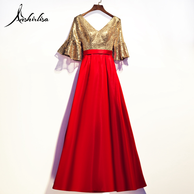Anshirlisa Women's   Evening     Dress   V Neck Long Lace Up Gold and Red Sequin Luxury Elegant Prom Celebrity Party Gala Gown Vestido