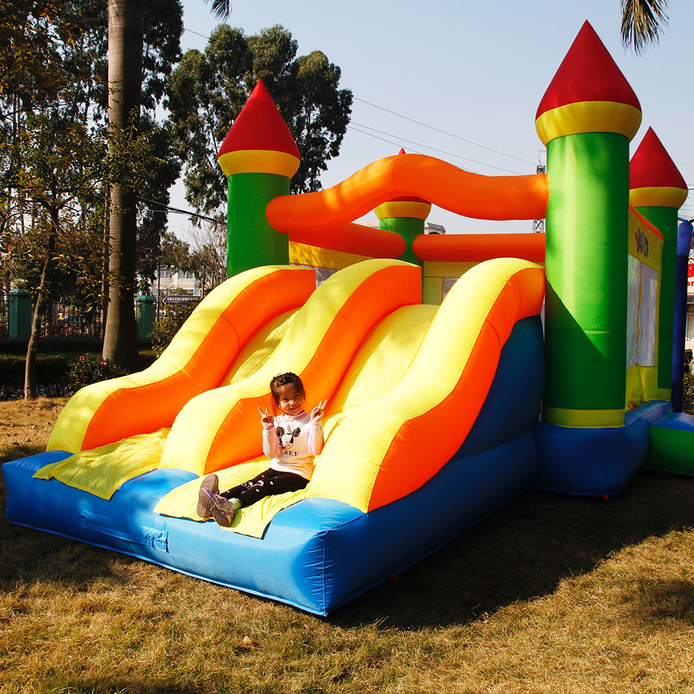 YARD 6.5x4.5x3.8M Inflatable Trampoline for kids Double Slides Obstacle Bouncer Inflatable Games House Bouncer Jumping Castle yard inflatable jumper bouncy castle nylon bounce house jumping house trampoline bouncer with free blower for kids