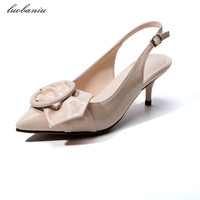32 42 Plus Size Women Summer Shoes Heels High Quality Med Heels Shoes Plus Size