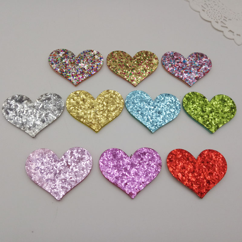 40PCS/lot Mid size 4.4X3.5cm Shiny Heart Padded Applique Crafts for Garment Accessories And Girl Hair Jewelry Decoration