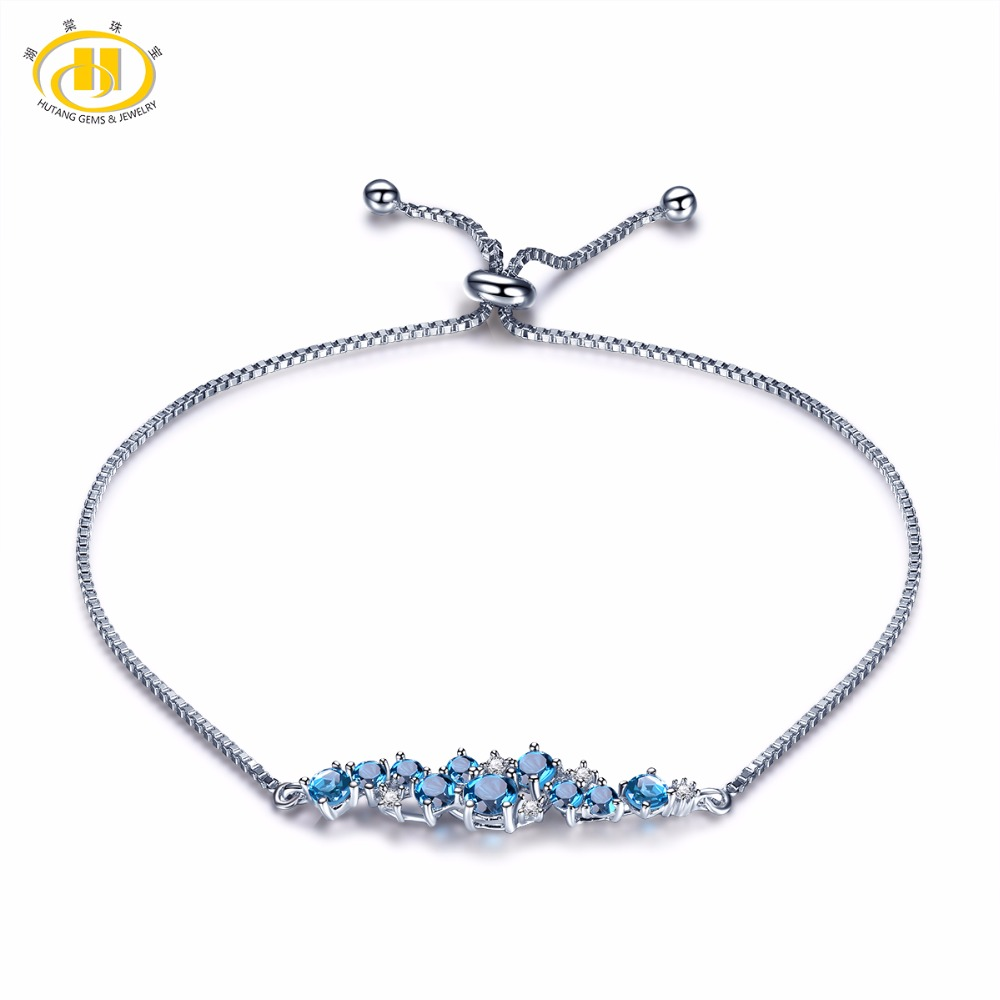 Hutang Natural London Blue Topaz Solid 925 Sterling Silver Adjustable Bracelet For Women's Gemstone Fine Stone Jewelry 8 Inches