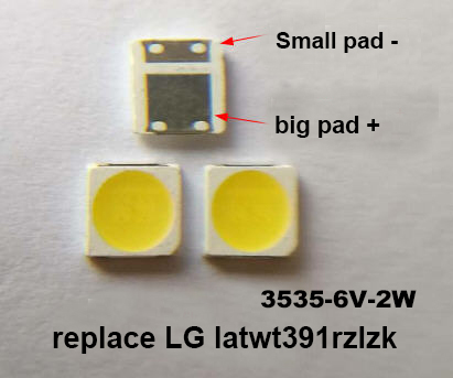 100PC SMD LED 3535 6V Cold White 2W For TV/LCD Backlight replace LATWT391RZLZK led diode