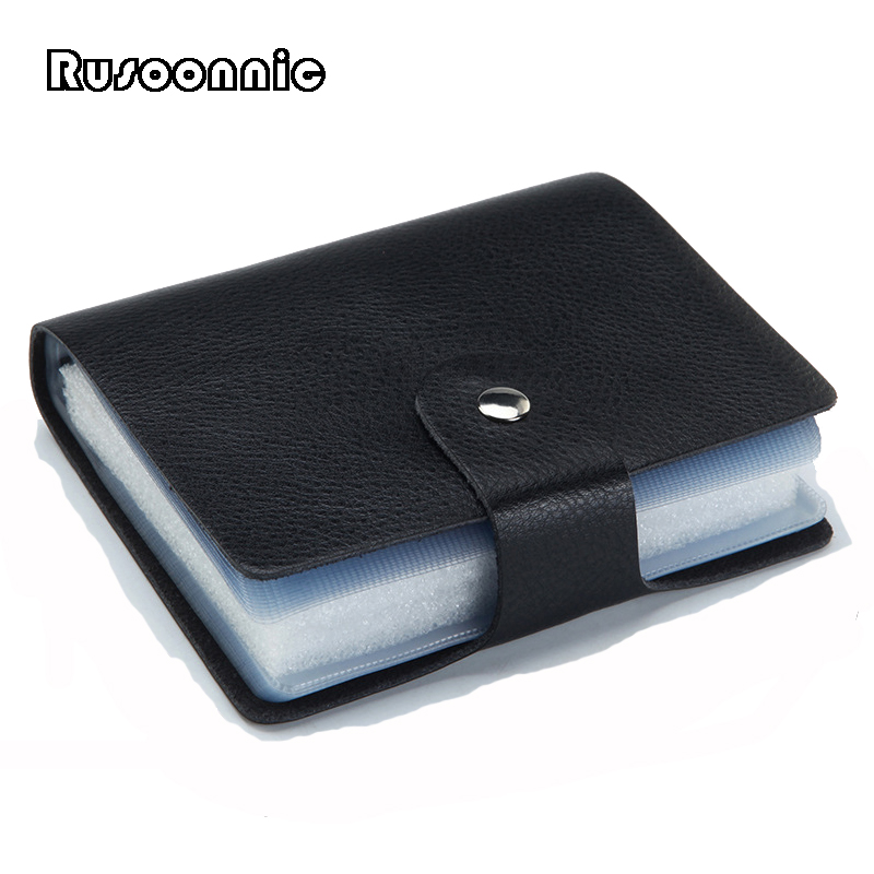 Rusoonnic Card Holder 40 Slots Credit Card Holders Men and Women Leather ID Bag Business Cardholder Case 2018 pu leather unisex business card holder wallet bank credit card case id holders women cardholder porte carte card case