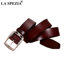 LA SPEZIA Belts For Men Genuine Luxury Leather Mens Pin Buckle Brown Business High Quality Brand Male Belt Black