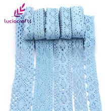 Lucia artesanato 2y/6 jardas azul algodão laço guarnição fitas diy vestuário casamento bordado tecido materiais n0101
