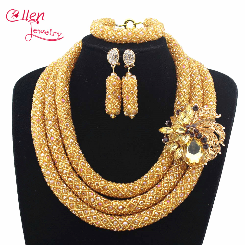 Fashionable African Beads Jewelry Sets Crystal Jewelry Set Nigerian Wedding beads Necklace Womens Jewellery Set W12712 2016 cross shape rhinestone hollow out silver plated jewellery sets stylish indian wholesale fashionable jewellery sets