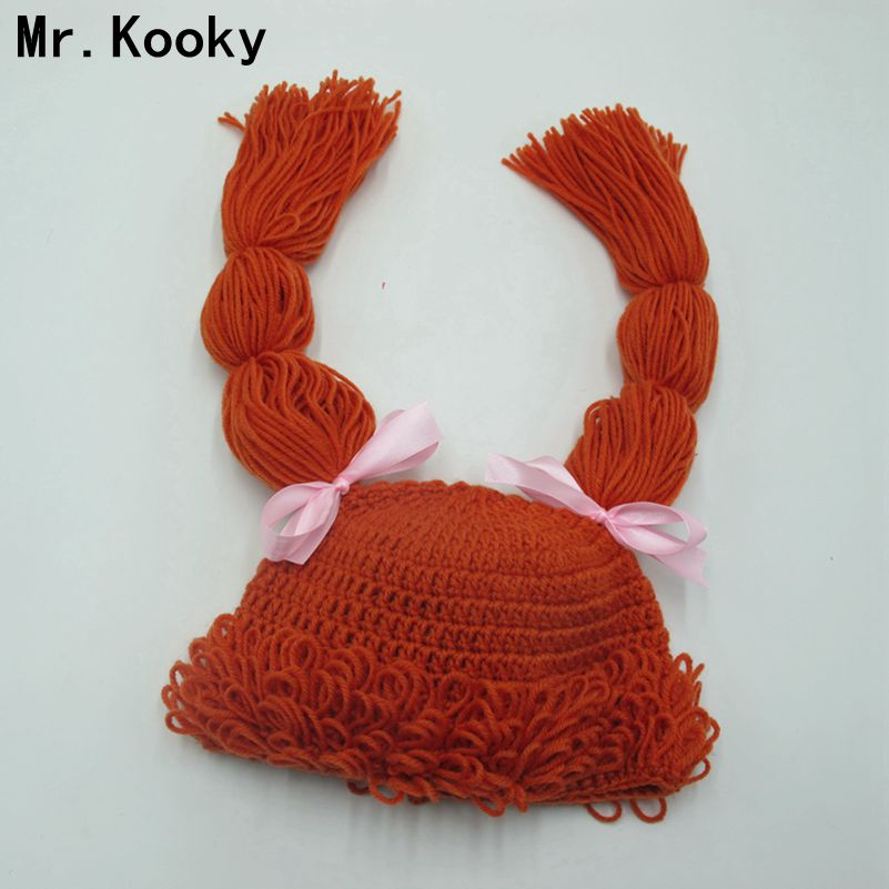 Mr.Kooky Wig Caps Cute Cabbage Patch Inspired Dolly Hats Baby Girls Crocheted Winter Beanies With Braids Children Birthday Gifts