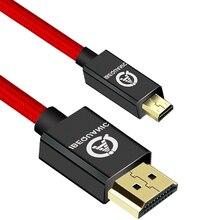 Kabel Micro HDMI do HDMI pozłacany kabel 1.4 3D 4K 1080P wysokiej jakości do kabla HDTV XBox telefon komórkowy