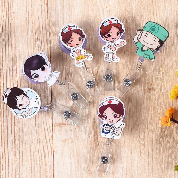 1pcs Cute Kawaii Nurse Retractable Badge Reel Student Nurse Doctors Exhibition ID Name Card Badge Holder Office Supplies