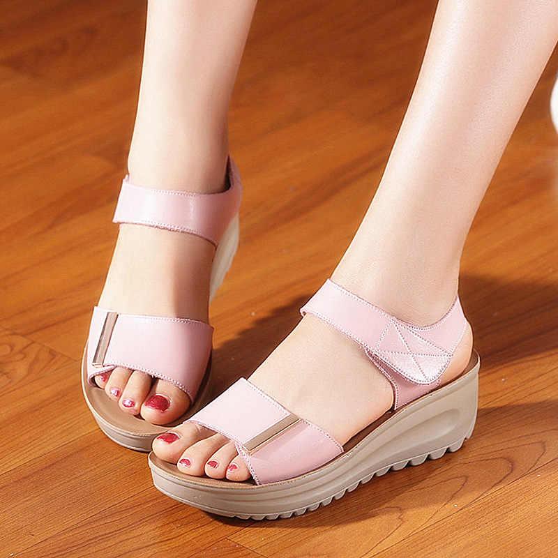 37f0683963b8 ... Quanzixuan Summer Sandals Women 2018 Platform Sandals Wedge Shoes White  Bohemia Women Sandals Summer Flat Sandals ...