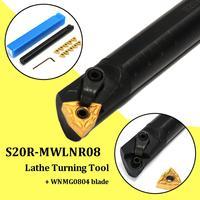 20x200mm S20R-MWLNR08 torno ferramenta de torneamento chato barra titular + 10 x wnmg0804 inserção girando ferramenta com 2 x hex chave