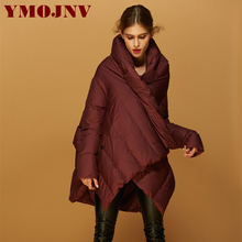 YMOJNV 2017 winter duck down jacket irregular coat parkas warm jacket women's fashion cloak style design clothes feather coat