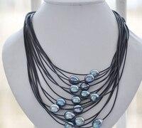 Бесплатная доставка >>@@ JY и 3128 15 пряди 11-13 мм павлин черный жемчуг риса Черная кожа ожерелье
