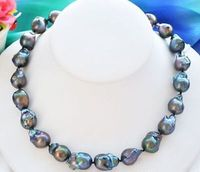 HOT## Wholesale FREE SHIPPING >>> huge 15 16mm natural Australian south sea black red blue pearl necklace 18inch
