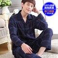 Мужской пижамы 100% плюс размер пижамы хлопка с длинными рукавами для мужчин осень зима lounge pajama наборы
