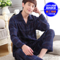Male sleepwear 100% plus size cotton pajamas long-sleeve men autumn winter lounge pajama sets