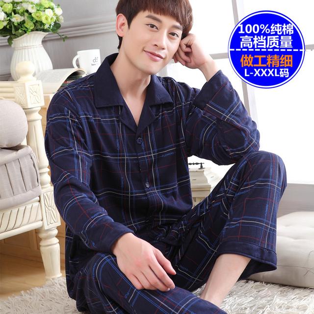Ropa de noche masculina 100% más el tamaño de pijama de algodón de manga larga hombres otoño invierno conjuntos salón pijama