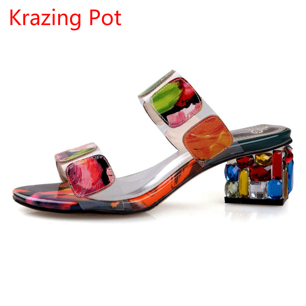 2017 Fashion Genuine Leather Crystal Superstar Mules Slip on High Heels Brand Shoes Colorful Peep Toe Women Summer Sandals L38 подвесной светильник eglo ascolese 94319