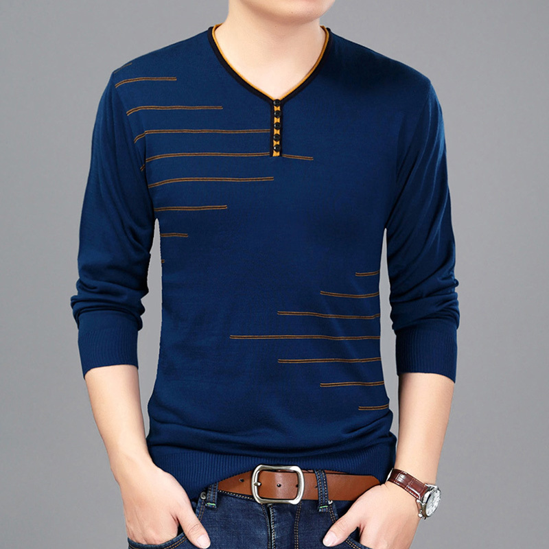 Mens V Neck Long Sleeve T-shirt Tee Solid Knitted Sweater Pullover Knitwear Tops