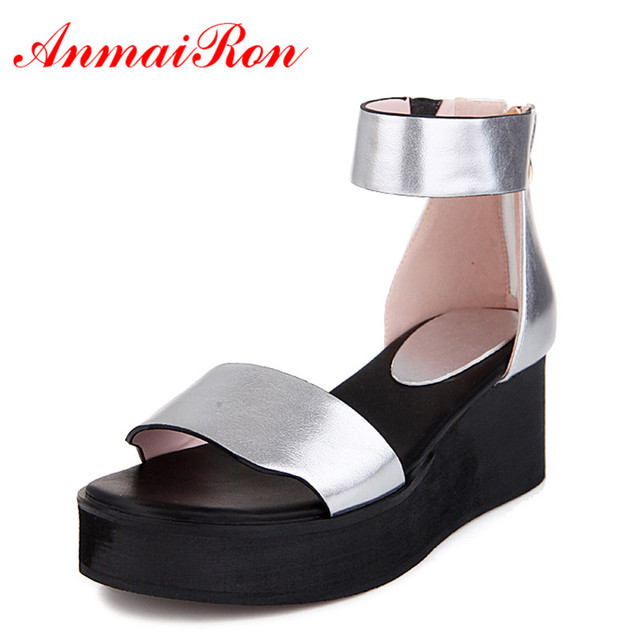 ANMAIRON Summer Fashion Shoes Women Platform Peep Toe Casual Girl Gold Silver White Lady Shoes Zip 36-39 Dress Sandals Wedges