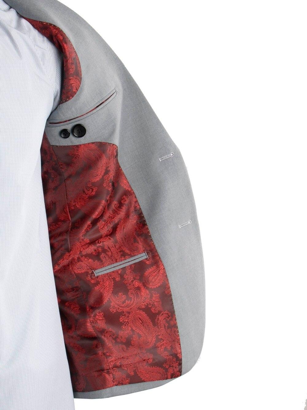 Erkek Kıyafeti'ten T. Elbise'de 2019 Moda Tasarım Erkekler Için Düğün Takımları Custom Made Gri Takım Elbise Bordo Paisley Astar, dar Yaka Kostüm Homme Mariage'da  Grup 1